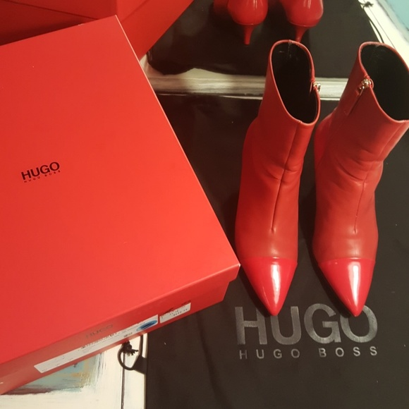closer at wholesale price brand new Hugo Boss Sumie Red Boots Size 7
